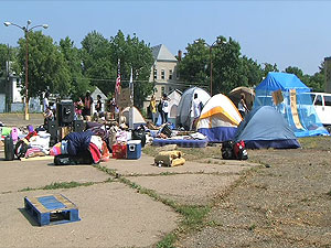 "Protesters set up ""Bushville"", a camp on Western Avenue in St. Paul."