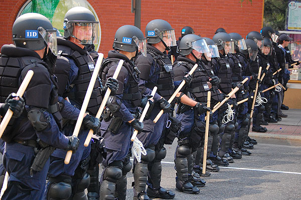 Police prepare for an anti-war protest in St. Paul that took place on the first day of the 2008 Republican National Convention.