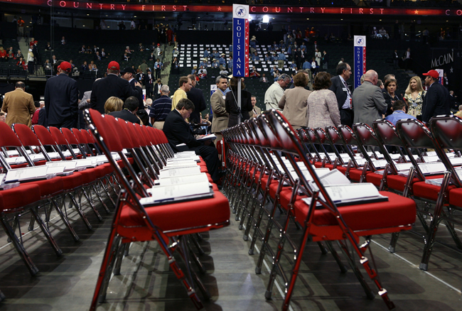 Empty seats stand on the floor before the start of day one of the Republican National Convention at the Xcel Energy Center September 1, 2008 in St. Paul, Minn. The GOP will nominate U.S. Sen. John McCain (R-AZ) as the Republican choice for U.S. President on the last day of the convention.