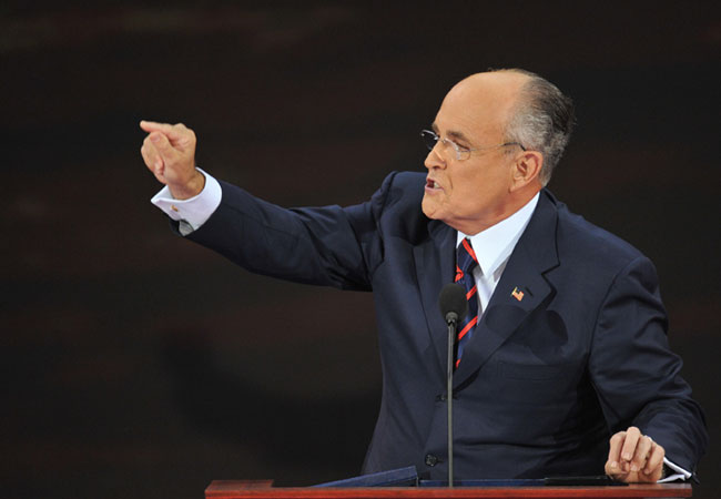 Rudolph Giuliani, former New York mayor, speaks during the Republican National Convention 2008 at the Xcel Energy Center in St. Paul, Minnesota, on September 03, 2008.