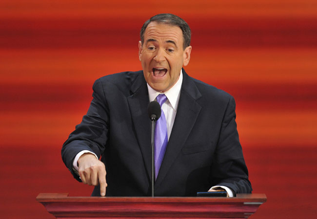 Mike Huckabee, former Republican presidential candidate and governor of Arkansas, speaks during the Republican National Convention 2008 at the Xcel Energy Center in St. Paul, Minnesota, on September 03, 2008.