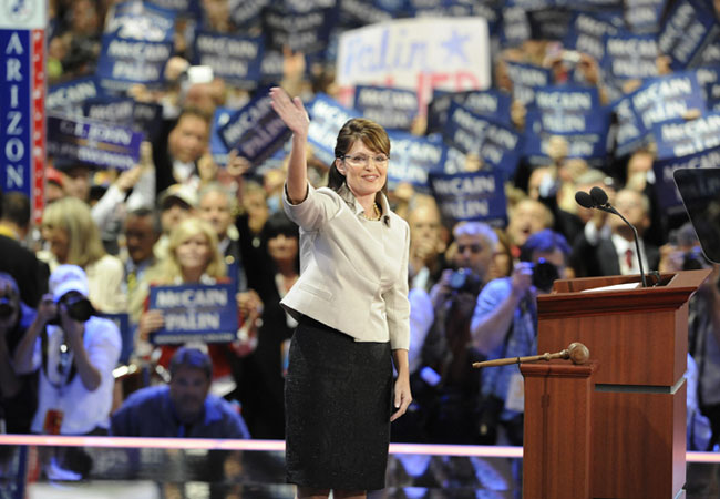 Sarah Palin, vice-presidential nominee, acknowledges the audience during the Republican National Convention 2008 at the Xcel Energy Center in St. Paul, Minnesota, on September 03, 2008.