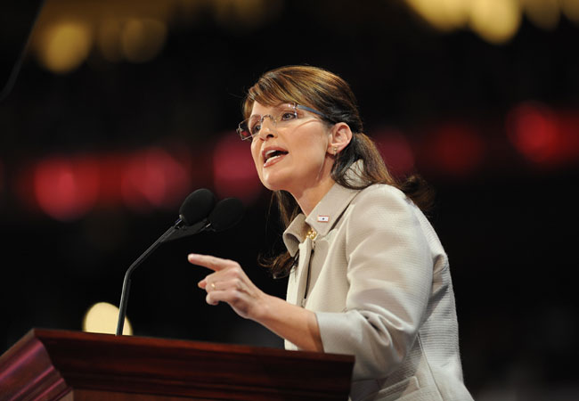 Sarah Palin, US vice presidential nominee, speaks during the Republican National Convention 2008 at the Xcel Energy Center in St. Paul, Minnesota, on September 03, 2008.