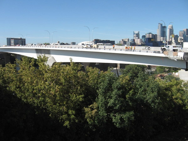 Construction on the new Interstate 35W bridge in downtown Minneapolis is nearing completion. The bridge could open to traffic sometime next week.