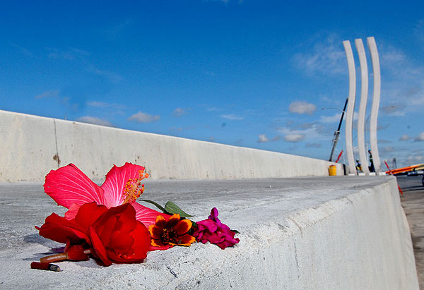 Flowers were left on the guardrail of the new 35W bridge, an apparent tribute to those who lost their lives during last year's bridge collapse.