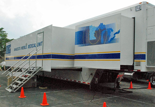 This is what the outside of the Mobile Medical Unit looks like.