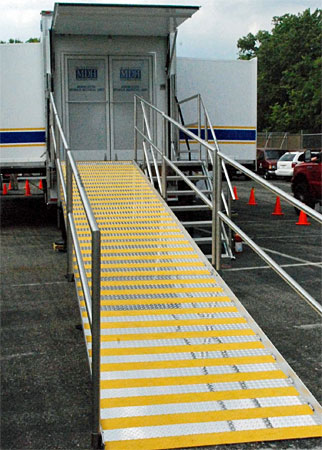 Patients can be wheeled up this ramp into the Minnesota Mobile Medical Unit.