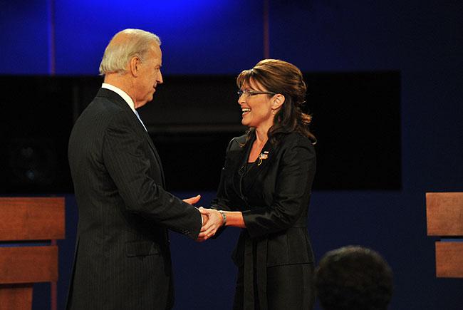 Republican Sarah Palin (R) greets Democrat Joseph Biden (L) on stage for their vice presidential debate October 2, 2008 at Washington University in St. Louis, Missouri.