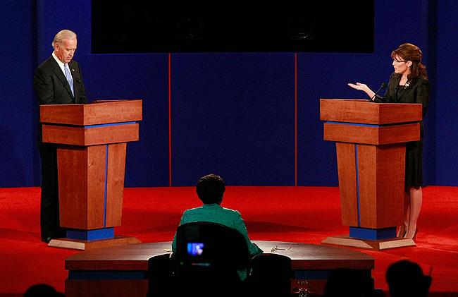 Democratic vice presidential candidate U.S. Senator Joe Biden (D-DE) and Republican vice presidential candidate Alaska Gov. Sarah Palin take part in the vice presidential debate at the Field House of Washington University's Athletic Complex.