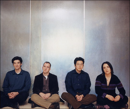 The Magnetic Fields (left to right): Sam Davol, Stephin Merritt, John Woo and Claudia Gonson.