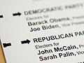 An absentee voter ballot