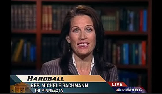 Minnesota Rep. Michele Bachmann said on MSNBC's Hardball that she questioned Barack Obama's values and called him anti-American and the most liberal senator in the Senate.