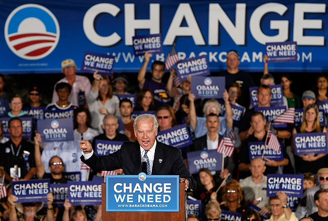 Democratic vice presidential candidate U.S. Senator Joe Biden (D-DE) speaks during a rally at Morrell Park October 17, 2008 in Henderson, Nevada. Early voting for the 2008 general elections in the battleground state begins on October 18.