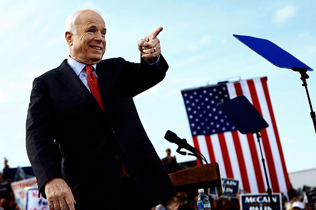Republican presidential nominee Sen. John McCain (R-AZ) holds a campaign rally at the New Town at St.