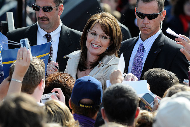 "Republican vice presidential candidate Alaska Governor Sarah Palin signs autographs after a "" Road to Victory Rally "" at Clipper Magazine Stadium October 18, 2008 in Lancaster, Pennsylvania."
