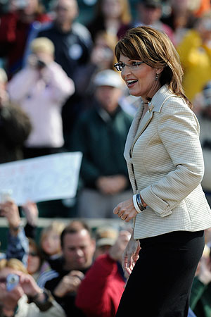 "Republican vice presidential candidate Alaska Governor Sarah Palin leaves a "" Road to Victory Rally "" at Clipper Magazine Stadium October 18, 2008 in Lancaster, Pennsylvania."