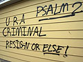 Graffiti on Sen. Norm Coleman's garage