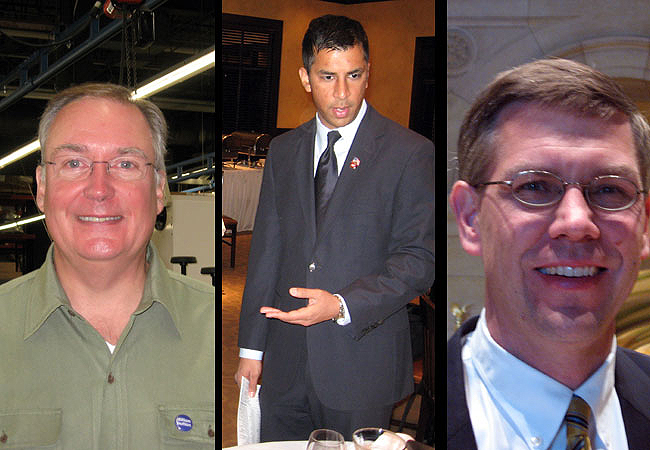 The candidates for Minnesota's 3rd Congressional District, IP-candidate David Dillon (left), DFLer Ashwin Madia and Republican Erik Paulsen, are in a tight and expensive race.