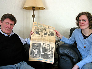 John Bujan and his daughter Molly Brom hold a 1979 edition of the Minneapolis Tribune that profiled their family's novel approach to shared parenting after divorce.