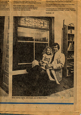 Molly Brom and her father, John Bujan, in a 1979 Minneapolis Tribune article on joint custody. (Photo courtesy of the Brom family)
