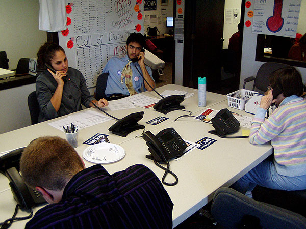 Volunteers work the phones at McCain headquarters in St. Paul during the final days of the campaign. The volunteer push is part of the campaign's get out the vote efforts.