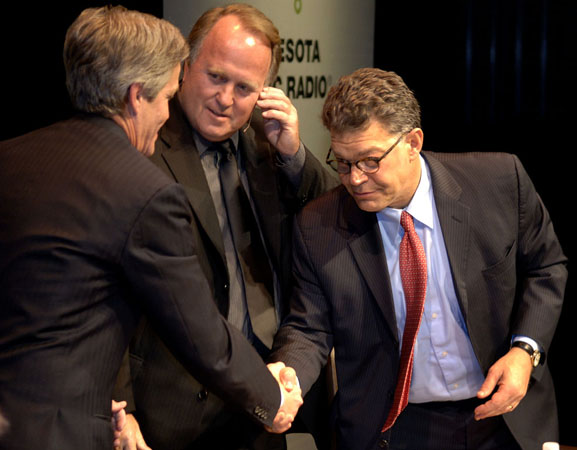 The three candidates for U.S. Senate in Minnesota greet each other at last night's debate. Much of the debate centered around accusations surrounding Norm Coleman and Coleman's charge Al Franken was behind the accusations.