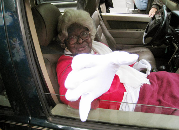 Rinalda Washington, 97, arrives at at Washington, D.C. voting precinct November 4, 2008 to cast her first vote ever at the Mount Bethel Baptist Church.