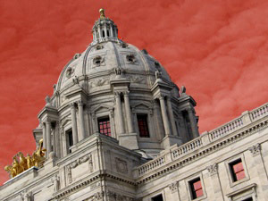 Red ink on the horizon of the Minnesota State Capitol, as the state faces a budget shortfall of more than $5 billion over the next two years.