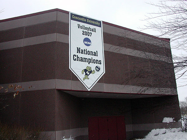 The championship banner from last year hangs on the school's athletic facility, the Gangelhoff Center. This year's banner will be raised alongside it.
