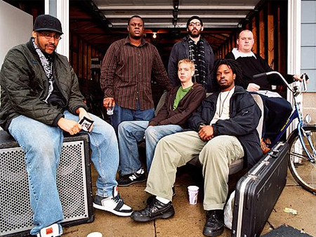 Peter with his Twin Cities Hip-Hop group Heiruspecs.