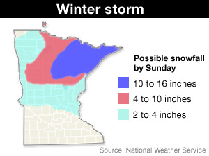 The National Weather Service says some areas in Northeast Minnesota could see up to 16 inches of snow over the weekend.