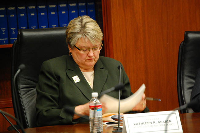 Ramsey County Judge Kathleen Gearin, who sits on the State Canvassing Board, examines the final election totals in Minnesota's U.S. Senate race between Norm Coleman and Al Franken.