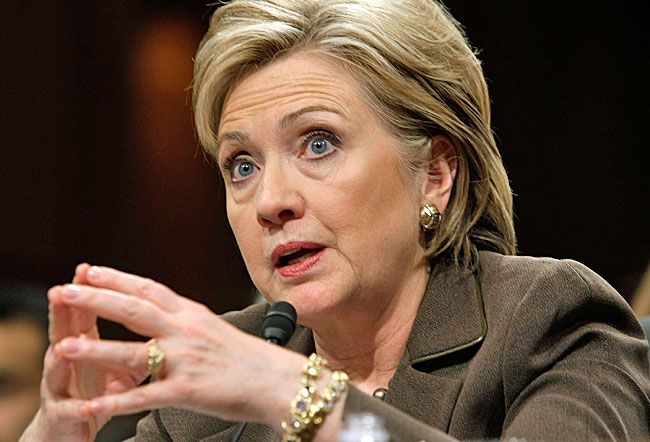 Hillary Rodham Clinton, testifies during her confirmation hearing before the