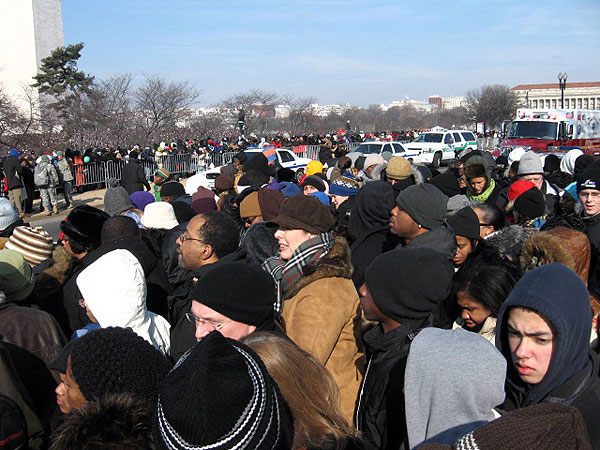 The crowd at the National Mall in front of the U.S. Capitol in Washington D.C. makes its way to watch the inauguration of President Barack Obama. It is estimated that nearly 2 million people turned out for the historic event.