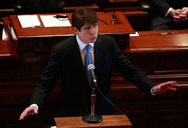 Illinois Governor Rod Blagojevich addresses the Illinois Senate during his impeachment trial January 29, 2009, in Springfield, Illinois. Blagojevich has been accused by federal authorities of corruption including offering to sell the U.S. Senate seat left vacant by President-elect Barack Obama.