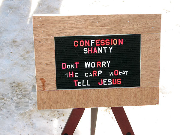 The Confession Shanty invites visitors to unburden themselves by writing their confessions on little slips of paper.