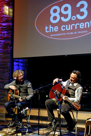 Gary Louris and Mark Olson performing in the UBS Forum at Minnesota Public Radio. Both say when they started playing together again, it was like they had never stopped.