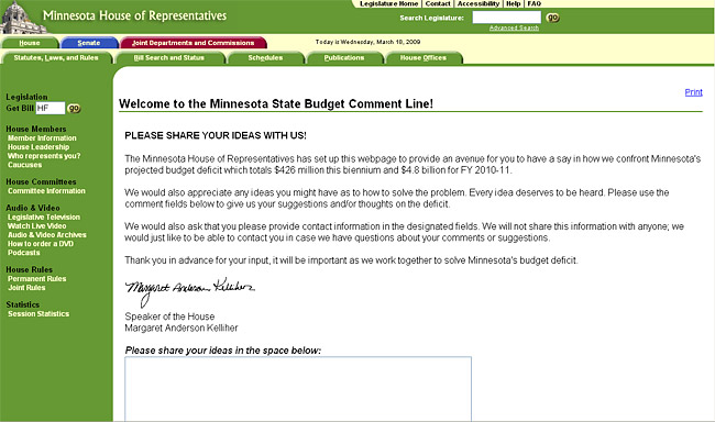 The Minnesota House website asks for suggestions to help fix the state's multi-billion dollar budget crisis.