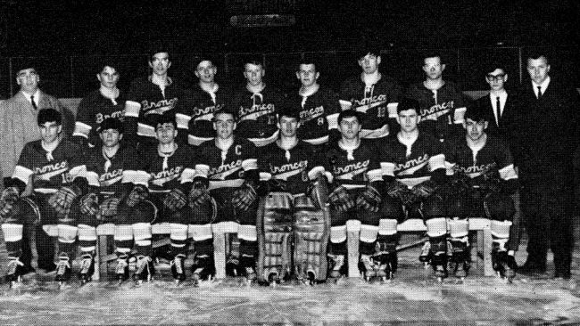 A team photo of the 1966 International Falls boys' hockey state championship team.