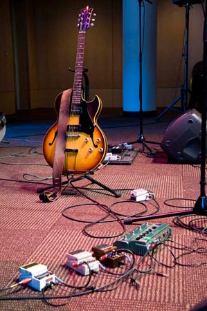 Considering the amount of sound created, Andrew Bird's gear is surprisingly minimal.