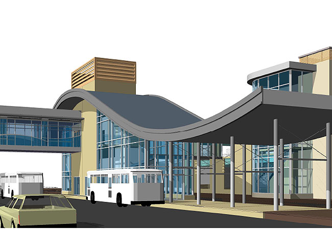 A 3-D mock-up of the Apple Valley transit station.