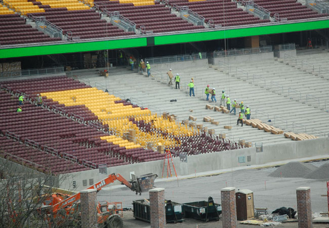 Construction crews at work on the University of Minnesota's new stadium, May 8, 2009.