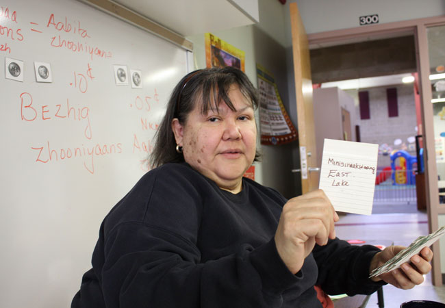 Bonita Nayquonabe has been an Ojibwe language teacher for the past ten years at the Lower School at Nay Ah Shing, a school run by the Mille Lacs Band of Ojibwe. She says the biggest challenge to preserve the Ojibwe language is that not enough families speak Ojibwe at home.