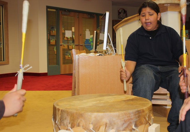 The Ojibwe language and culture curriculum is rich with hands-on activities, from drumming to maple sap and wild rice harvesting.
