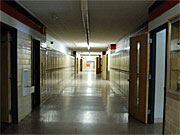 An empty hallway at Stewart School