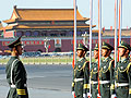 A Chinese paramilitary police stands guard