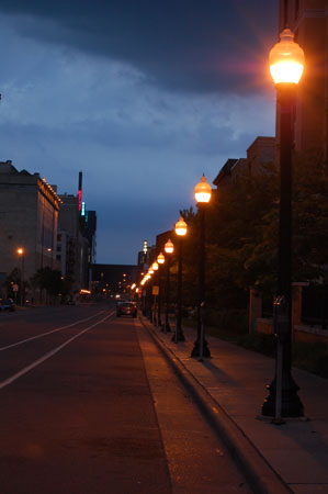 Street lights in downtown Minneapolis, near the Guthrie Theater.