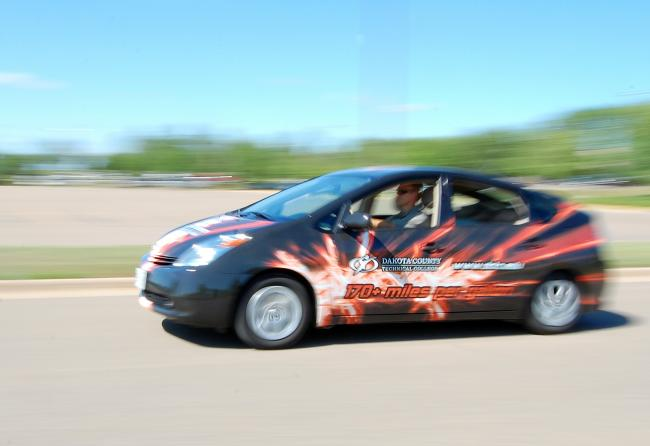 Automotive students at Dakota County Technical College turned this 2005 Toyota Prius into a plug-in hybrid, dramatically increasing its gas mileage. The car regularly gets 90 mpg, but has gone high as 171 mpg.