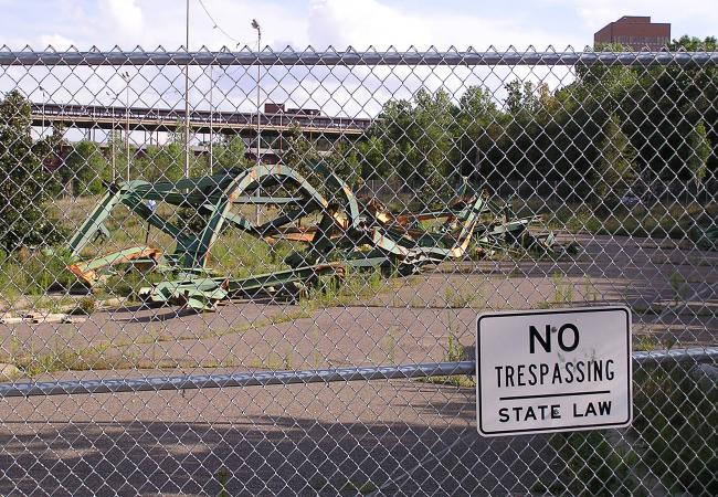 Some of the wreckage from the collapsed 35W bridge is still stored on Minneapolis park land on West River Parkway, a short walk from the new span.