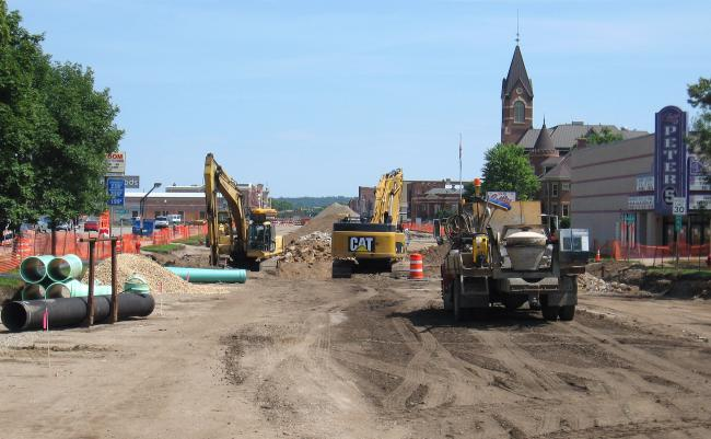 Another view down Minnesota Avenue where a construction project is underway funded by federal stimulus money.
